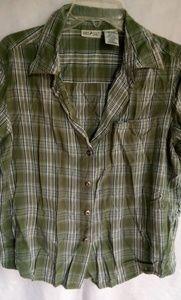 White Stag Olive Plaid Shirt Sz L